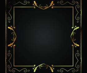 Square golden frame vintage vector