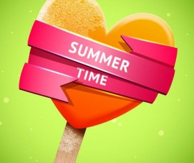 Summer bright orange ice cream vector