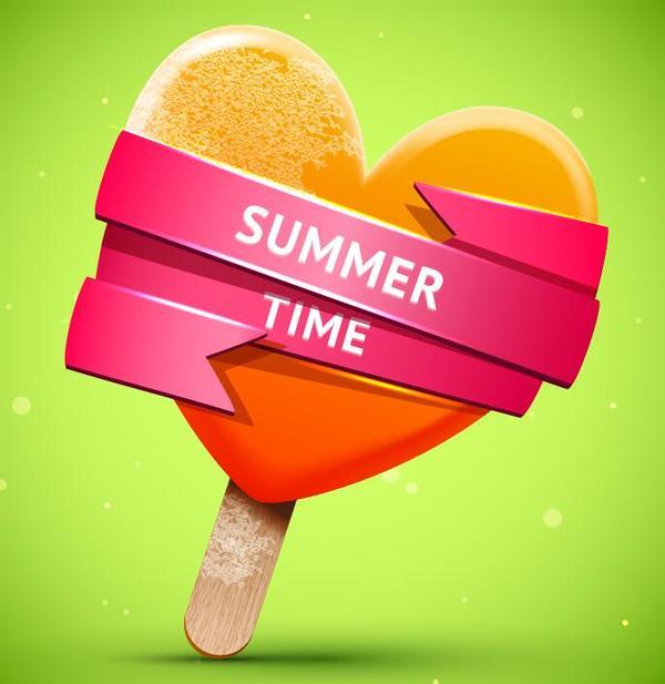 Summer bright orange ice cream vector