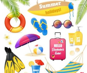 Summer holiday travel elements vectors set 01