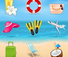 Summer holiday travel elements vectors set 02