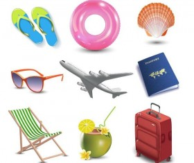Summer holiday travel elements vectors set 03