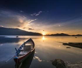 Sunset lake boat landscape Stock Photo