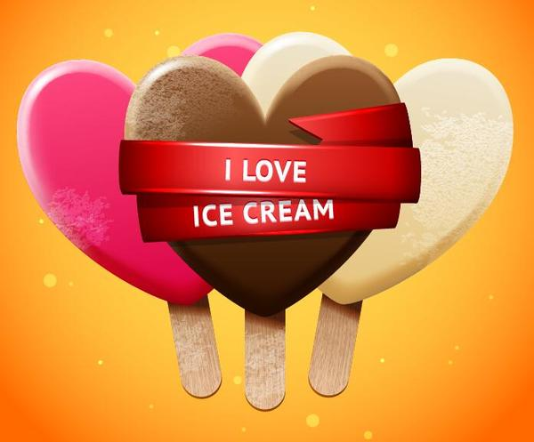 Sweet ice cream and red ribbon vector