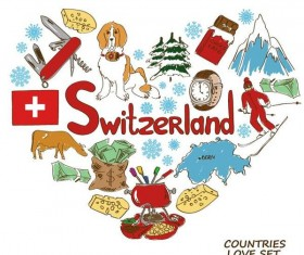 Switzerland country elements with heart shape vector