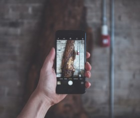 Taking photograph with smartphone Stock Photo