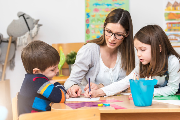 Teaching preschool children literacy Stock Photo