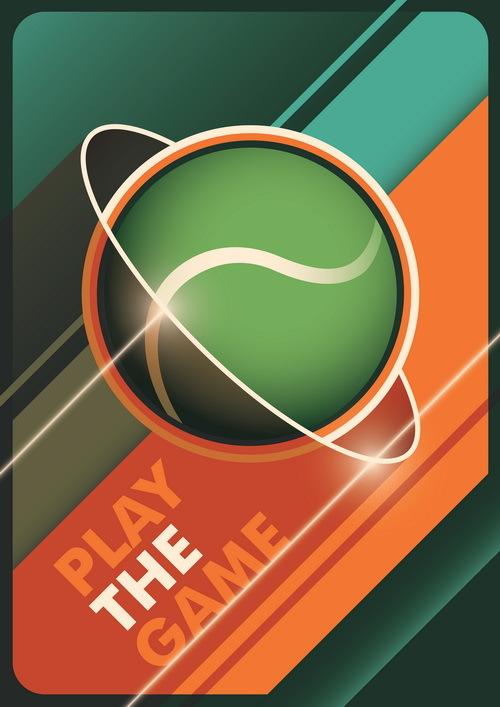Tennis poster template vintage vector 02