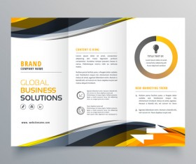 Three fold business brochure cover vector