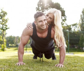 Together exercise lover Stock Photo 02