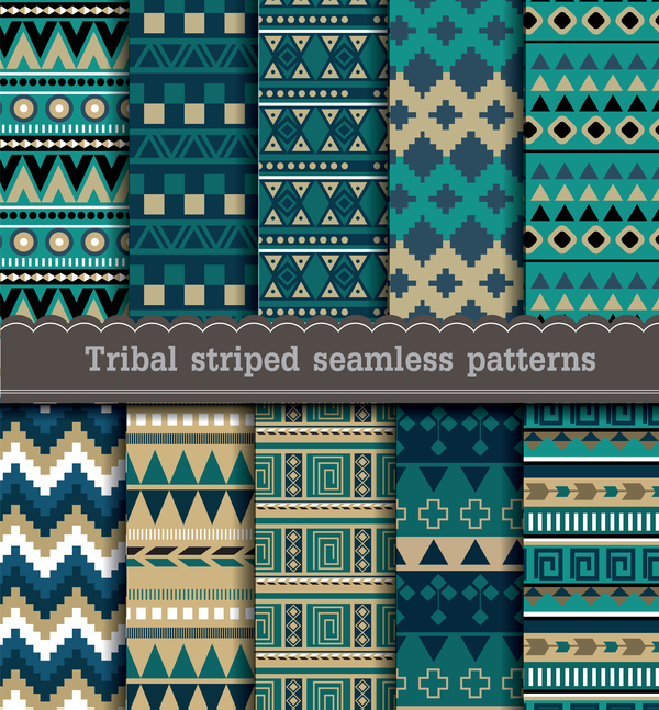 Tribal striped seamless patterns vector material 01