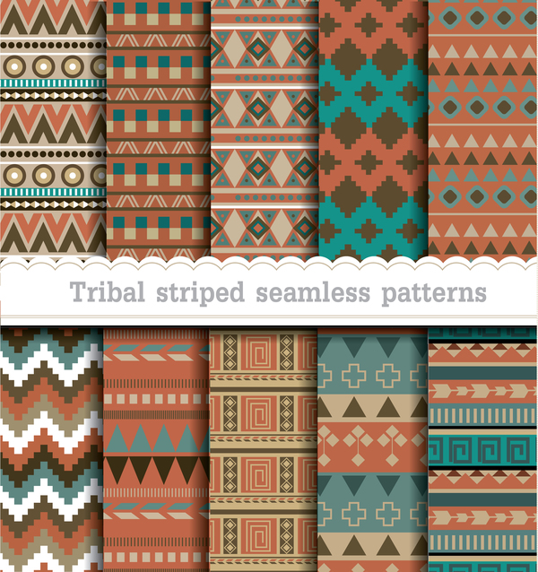Tribal striped seamless patterns vector material 02