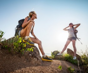 Two young hikers girl Stock Photo