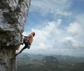 Unarmed mountaineering Stock Photo 02