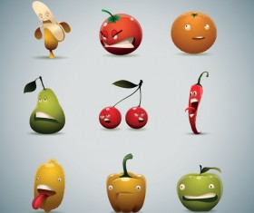 Unhappy fruits and vegetables vector