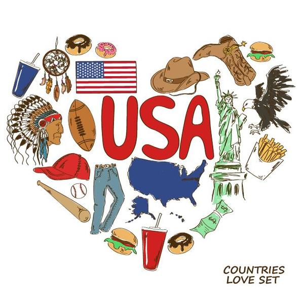 Usa country elements with heart shape vector