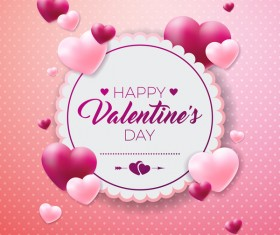Valentine card template pink vector
