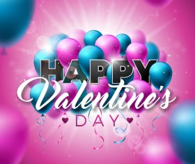Valentine card with colored balloons vector