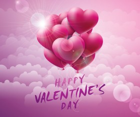 Valentine card with heart balloon and cloud vector