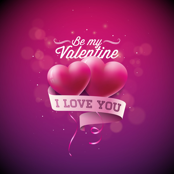 Valentine card with heart balloon and ribbon banner vector