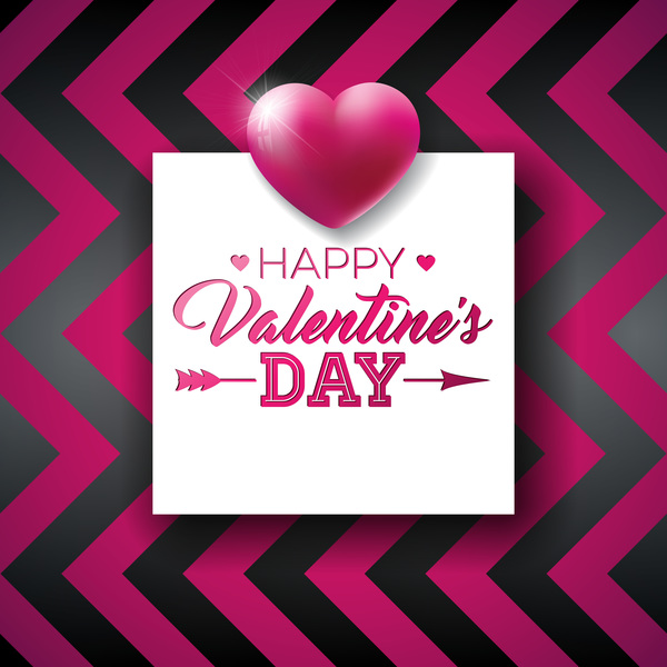 Valentine card with stripes pattern vector
