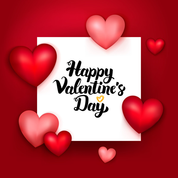 Valentine day card with paper background vector