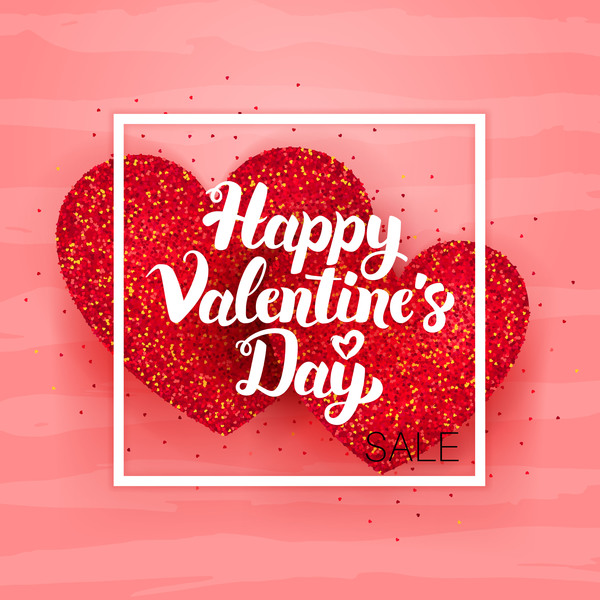 Valentine day card with red heart vector