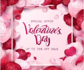 Valentine day special offer with flower frame vector