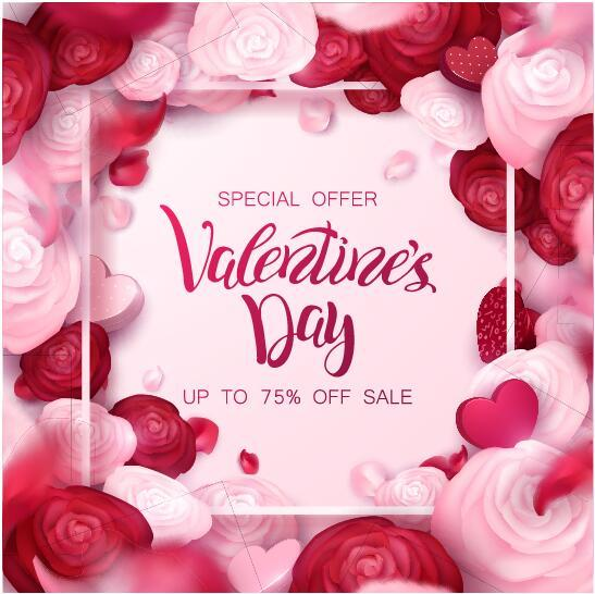 Valentine day special offer with flower frame vector - Vector ...