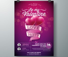 Valentine flyer and brochure cover template vectors set 01