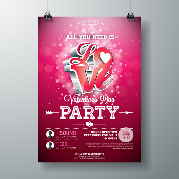 Valentine flyer and brochure cover template vectors set 02