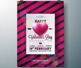 Valentine flyer and brochure cover template vectors set 03