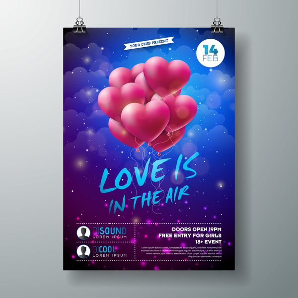 Valentine flyer and brochure cover template vectors set 04