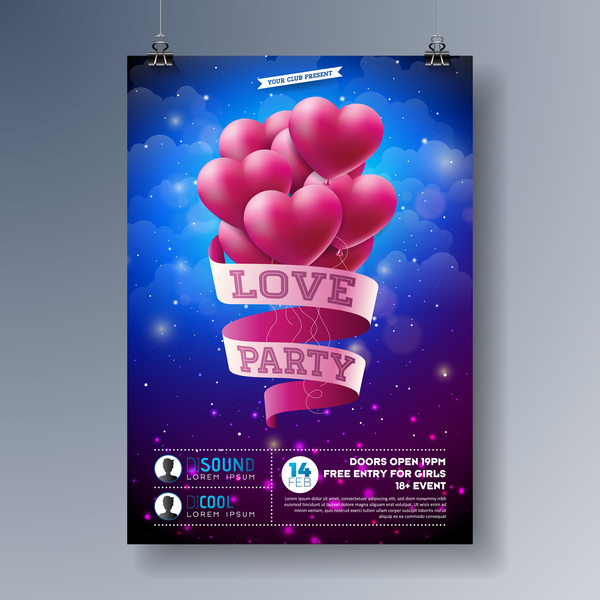 Valentine flyer and brochure cover template vectors set 05