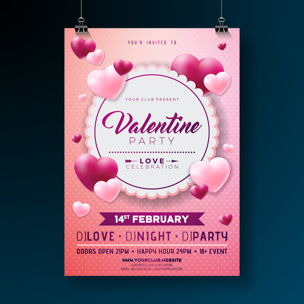 Valentine flyer and brochure cover template vectors set 06