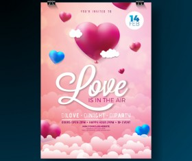 Valentine flyer and brochure cover template vectors set 07