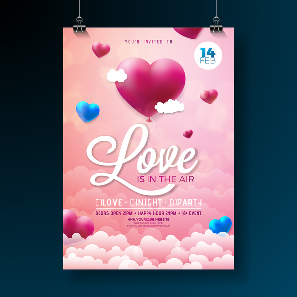 Valentine flyer and brochure cover template vectors set 07 free download