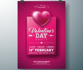 Valentine flyer and brochure cover template vectors set 08