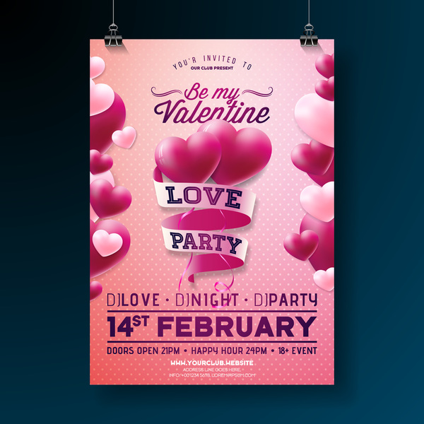 Valentine flyer and brochure cover template vectors set 09