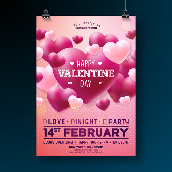 Valentine flyer and brochure cover template vectors set 10