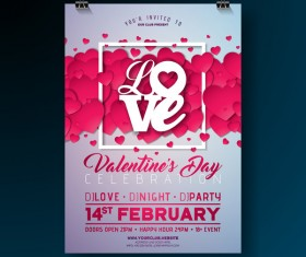 Valentine flyer and brochure cover template vectors set 11