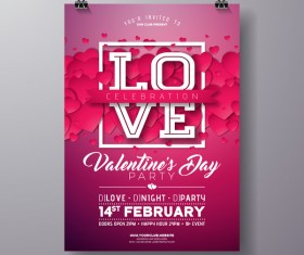 Valentine flyer and brochure cover template vectors set 12