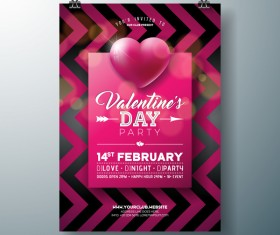 Valentine flyer and brochure cover template vectors set 13