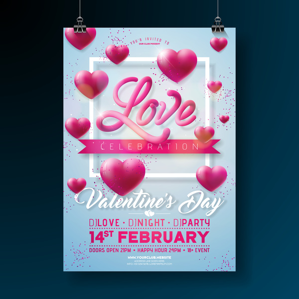 Valentine flyer and brochure cover template vectors set 14
