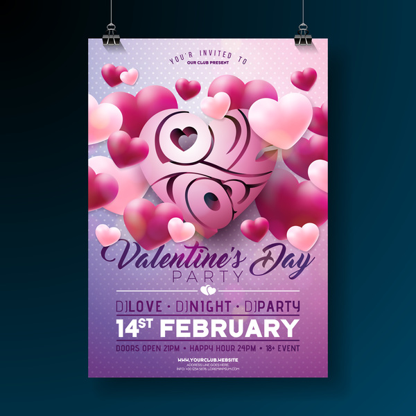 Valentine flyer and brochure cover template vectors set 15