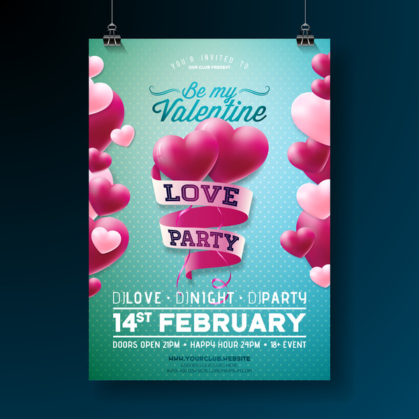 Valentine flyer and brochure cover template vectors set 16