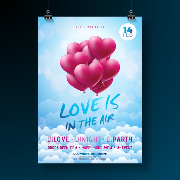 Valentine flyer and brochure cover template vectors set 18