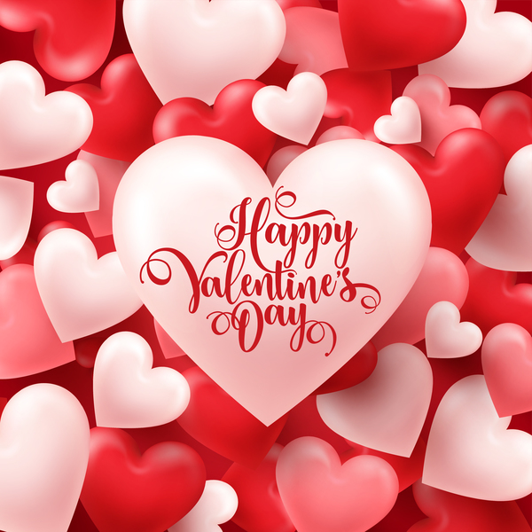 Valentine heart background vector material 01