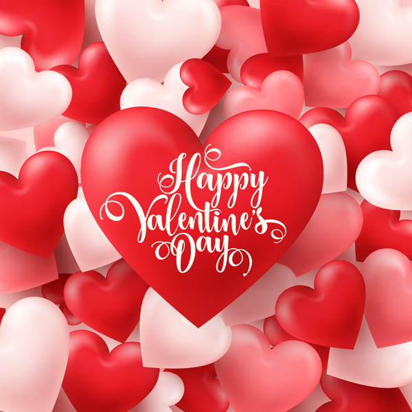 Valentine heart background vector material 02