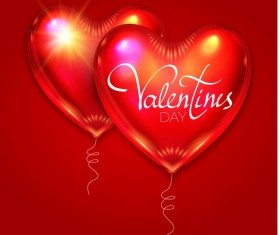 Valentine heart shape balloon with red background vector